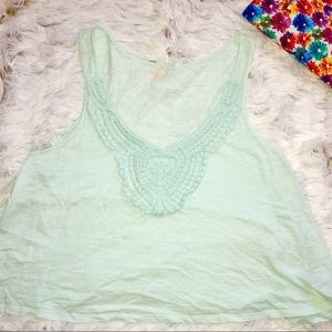 XL Teal Tank with knit V collar